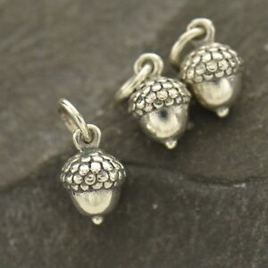 Acorn Necklace Oak Tree Nature Autumn Fall Dangle Charm 925 Sterling Silver 873