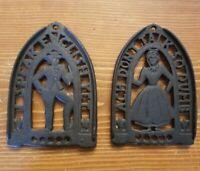 Vintage Cast Iron Trivet Iron Rest Folk Art Dutch Funny Pair Man Woman