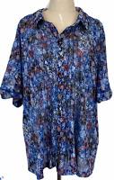BNWT BIB Womens Multicoloured Short Sleeve Button Up Blouse Size M RRP$59.95