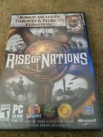 Rise Of Nations Video game PC CD-Rom Thrones & Patriots Expansion Human History