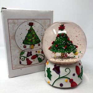 Dept 56 Neiman Marcus Musical Snow Water Globe Merry Little Christmas Tree 1997