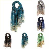 NEW Warm Floral Women Wrap Bird Long Shawl Scarf Printed Scarves Elegant