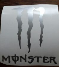 2 MONSTER VINYL STICKER, CAR DECAL WINDSCREEN Bumper sticker silver gloss
