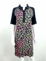 Next Dress UK 14 Black Pink Collar Floral Pattern Short Sleeve