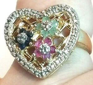 925 Sterling Silver w/ Gold Plated Sapphire Ruby Emerald Flower Heart Sz 8  #RB8