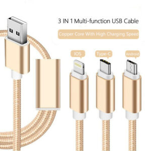3 In 1 USBCharging Cable 3 Way Micro Usb Data Cable Multi Fuction UBS Cable