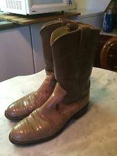 JUSTIN beige lizard roper  western cowboy womens boots sz 6.5B