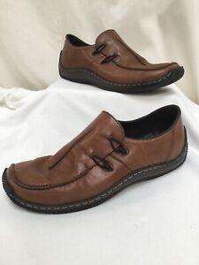 RIEKER Anti Stress Mahogany Brown Leather Slip On Shoes UK6.5 EUR40 VGC