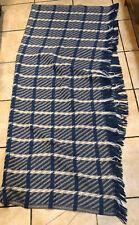 Pendleton USA Wool Fringe Throw Blanket 60x67 Blue Beige White Plaid