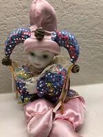 Vintage Porcelain  Jester Harlequin Clown Doll Figurine w/ Mardi Gras Motif