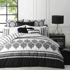 Logan and Mason TANGIER BLACK White Single Bed Size Doona Duvet Quilt Cover Set