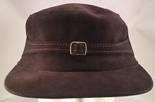 Vintage Brown Suede Cadet Style Hunting Hat Cap with Ear Flaps Size 7 1/8