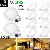 10Pcs 12W Dimmbar Rund LED Panel Lampe Deckeneinbauleuchte Warmweiß Ultraslim