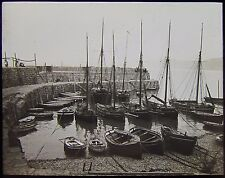 Glass Magic Lantern Slide FISHING BOATS CLOVELLY HARBOUR C1890 PHOTO BIDEFORD