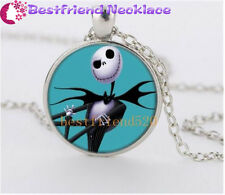 NEW Nightmare Before Christmas light blue jack glass silver necklace#YKL27