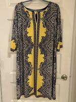 NWoT STUDIO 1 NEW YORK Women's Yellow/Blue 3/4 Sleeve Unlined Midi Dress Size 1X
