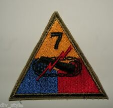 7th Armored Division patch, color, full size, US Army surplus 1952 original