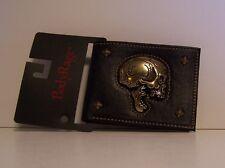 Body Rage Metal Skull Wallet Billfold Black Faux Leather Brass Studs Photo ID