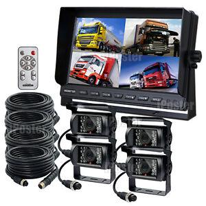10.1'' Monitor Quad Split Screen TFT LCD 4PIN CCD Reversing Camera 12V-24V Truck