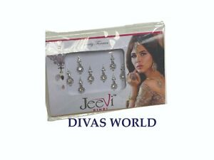 Silver Colour Indian Bindi Bridal Festival Crystal Tikka Jewel Bindis Pack of 8