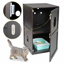 35'' Wooden Cat Litter Box Pet Washroom House 2-Tiers Enclosure Indoor Furniture