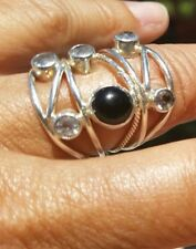 Solid Sterling Size 8 Ring w/ Obsidian and Clear Quartz