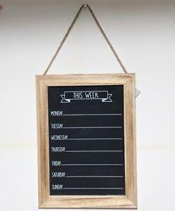 Chalk Board Week Days Meal Menu Planner Events Notes Kitchen Organiser Plaque
