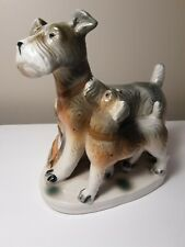 Vintage Airedale Terrier Dog And Puppy Planter/Vase