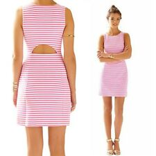 """MANDY"" BEAUTIFUL SIZE 10-12 PINK WHITE STRIPE OPEN BACK STRETCH COTTON DRESS"