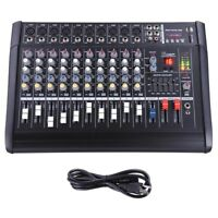 10 Channel Professional Powered USB Mixer Amplifier Amp 16DSP 48V Phantom Studio