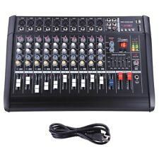 10 Channel Professional Powered USB Mixer Amplifier Amp 16DSP 48V Phantom Studio