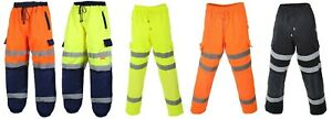 Hi Viz Vis Work Fleece Bottoms Safety Sweat Pants Jogging Trousers Joggers