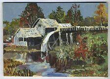Original Vintage Oil Painting Mill With Waterwheel Artist WL Black
