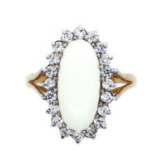 A Large Opal and Cubic Zirconia 9ct Gold Cluster Ring - With Gift Box