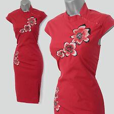RARE Karen Millen Rosso Orientale Cinese Misto cotone Stile Wiggle Abito UK 8 EU36