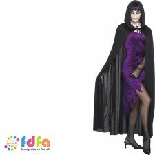 BLACK HOODED VAMPIRE DRACULA CAPE mens ladies halloween fancy dress costume
