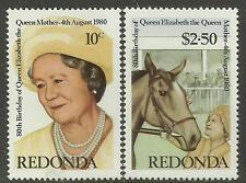 REDONDA 1980 80th Birthday QUEEN ELIZABETH QUEEN MOTHER 2v MNH
