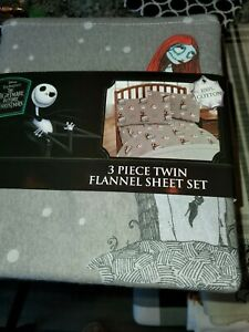 Disney Tim Burtons the nightmare before christmas  Twin Flannel Sheet Set - new