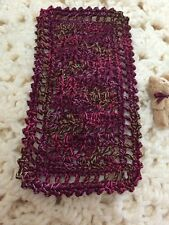 Crochet Miniature Dollhouse Blanket Currant And Variegated. 3 X 5.75 Inches