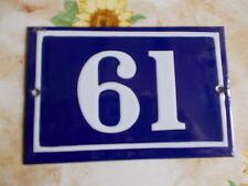 ANCIEN NUMERO *61*  EMAIL  MAISON  PLAQUE EMAILLEE DE RUE 15cmx10cm