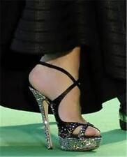 Jimmy Choo SUKI Crystal Jewel Platform Open Toe Satin Sandals Heels Shoes 39 EU