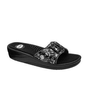 Scholl New Massage Sandals - Black/Silver
