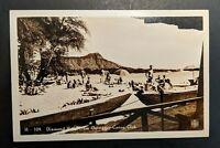 Vintage Diamond Head Outrigger Canoe Club Hawaii Real Photo Postcard RPPC