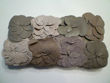 NWT: ANN TAYLOR 3D Floral Leather Applique Clutch in Shades of Beige/Taupe