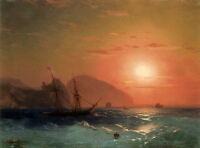 """Stunning Oil painting Seascape View Of The Ayu Dag Crimea in sunset canvas 36"""""""