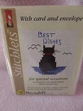 MOUSELOFT STITCHLETS CROSS STITCH KIT ~ BEST WISHES CAT ~ CARD & ENVELOPE ~ NEW