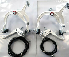 WHITE BMX MX BRAKE SET WHITE MX BRAKE LEVERS LEVER ALLOY OLD SCHOOL