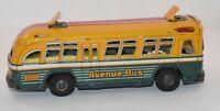 Vintage Japan Yonezawa Toys Brdway Avenue Bus Tin Litho Friction Toy Rare