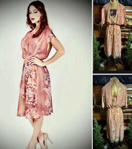 Vintage 70 80s Sheer Prairie Floral Sheer Secretary Disco Hippie Midi Dress XS S
