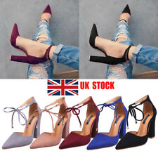 UK Women Lady High Heel Tie Up Strappy Pointed Toe Party Club Sandals Shoes Size